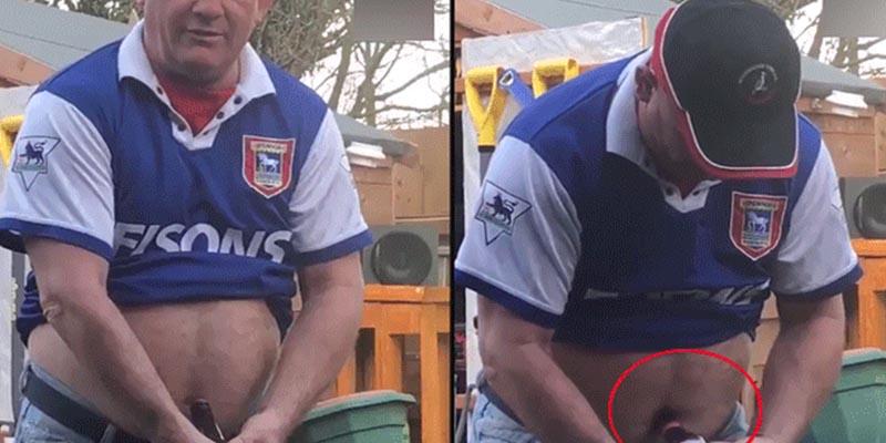 Este hombre intenta abrir una cerveza con su ombligo y el desenlace es asqueroso