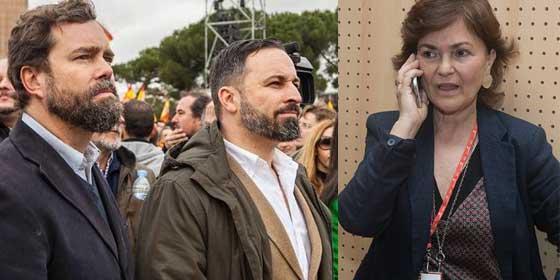 """Carmen Calvo dice que VOX """"se va de rositas"""" por no ir a los debates y Espinosa de los Monteros le responde: """"Si queréis confrontar, marcad sitio, fecha y hora, cobardes"""""""