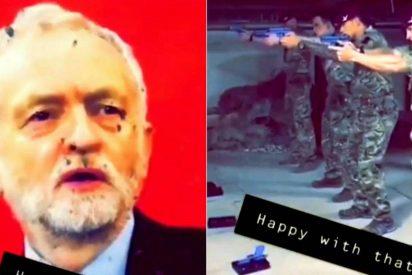 Vídeo: Soldados británicos disparan contra un retrato de Jeremy Corbyn, líder opositor laborista