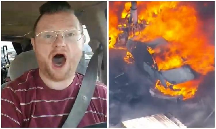Vídeo: El instante que un tráiler impacta a toda velocidad contra 12 vehículos