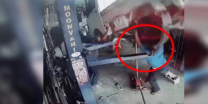 Este mecánico casi pierde la vida tras cometer un terrible error mientras revisaba una camioneta