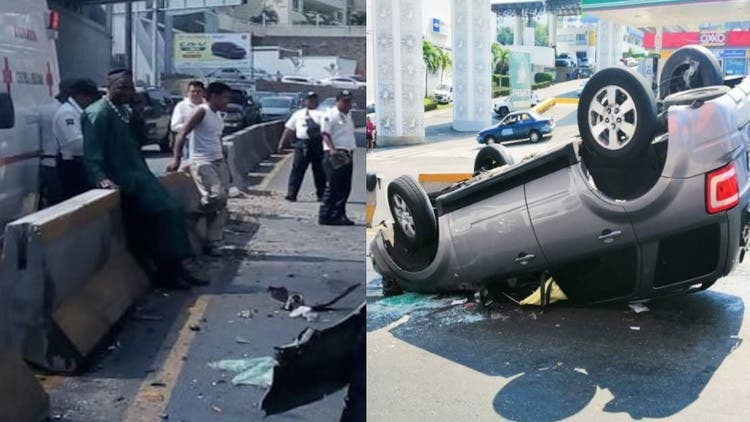 El príncipe de Camerún destroza su auto en un accidente en Acapulco