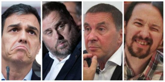 La imagen que hace temblar a España el 28-A: ir a votar con euforia y acostarse con Sánchez, Junqueras, Iglesias y Otegi