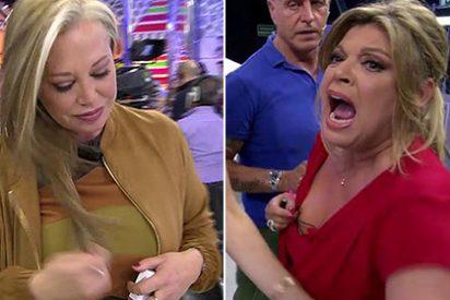 """Gran bronca entre Terelu Campos y Belén Esteban por culpa de Carmen Borrego: """"¡Parece que le han dado de hostias!"""""""