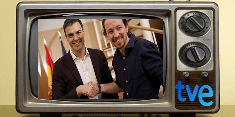 Sánchez ordena a RTVE hacer el pino, los periodistas del ente se arrodillan y la oposición se planta