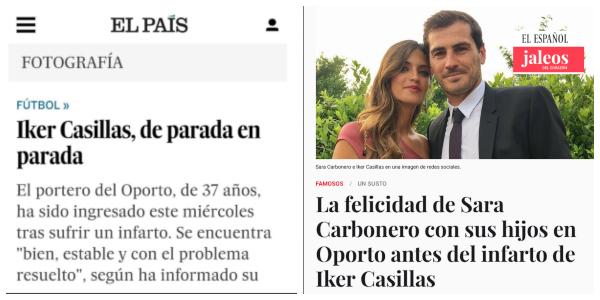 Twitter cruje a El País y a El Español de Pedrojota por su cobertura del infarto de Casillas