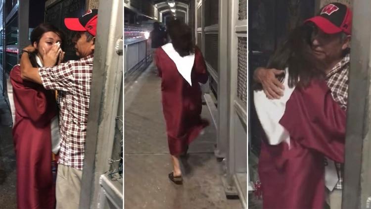 Una latina recién graduada corrió hasta la frontera para abrazar a su padre deportado