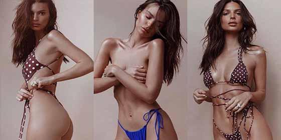 El artístico 'topless' de Emily Ratajkowski enciende la Navidad