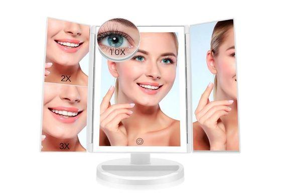 Espejo con luz tríptico para maquillaje