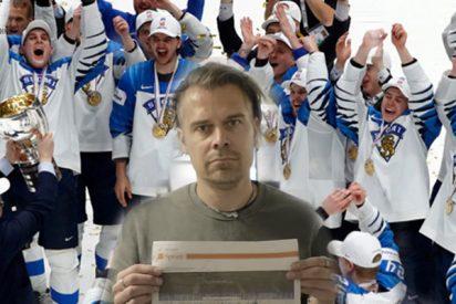 Este periodista se come el diario en el que había ninguneado al campeón mundial de hockey sobre hielo