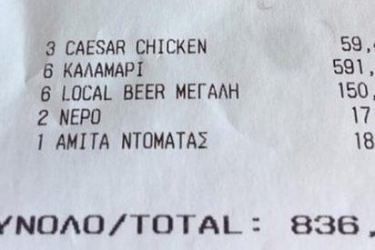 """Timo playero: """"836 euros por seis platos de calamares, tres ensaladas, seis cervezas, agua y zumo en Miconos"""""""