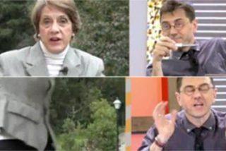 El show de 'la mujer más franquista de España' marchándose de Cuatro en directo por no soportar a Monedero