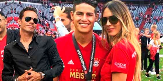 James presentó a Shannon de Lima (ex de Marc Anthony) como su nueva novia en el Bayern Arena