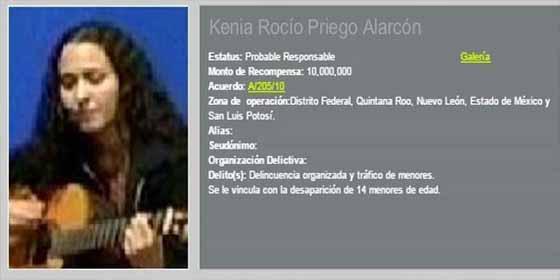Quién es Kenia Rocío Priego, la criminal más buscada de México