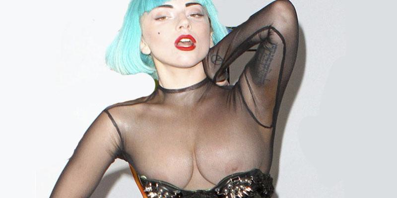 Lady Gaga nos enseña su redondeadito boom boom con un mono transparente