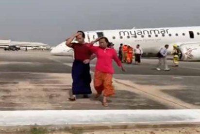 Un piloto 'con un par' salva a los 89 pasajeros de un avión tras aterrizar sin las ruedas frontales