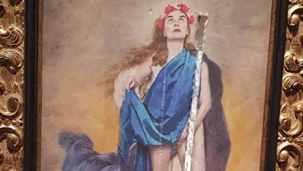 La Diputación de Córdoba expone un cuadro de una Inmaculada desnuda en posición obscena