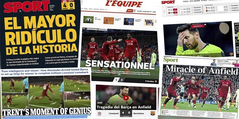 """""""El mayor ridículo de la historia"""": las portadas de la prensa internacional por la eliminación del Barcelona ante el Liverpool"""
