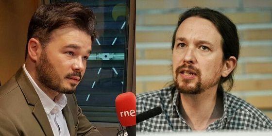 """El 'cuervo' Rufián se lanza a sacarle los ojos al """"testosterónico"""" Iglesias por amenazar con elecciones"""