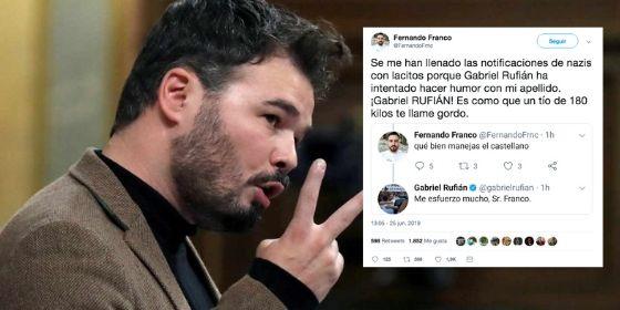 Rufián trata de hacer una 'gracieta' con el apellido de un tuitero, le sale francamente mal y recibe un 'zasca' épico