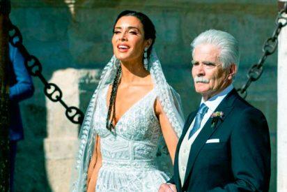 Pilar Rubio llena de luz Sevilla con su blanco, radiante y arriesgado vestido de novia
