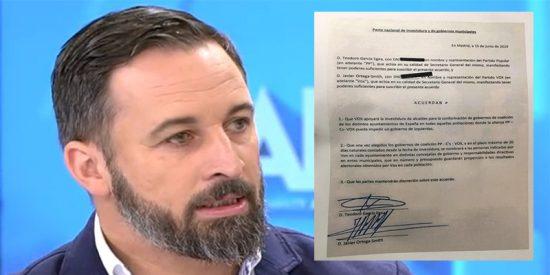 """VOX manda a hacer gárgaras a PP y C's y publica el documento donde los populares se comprometen a cederles """"concejalías"""""""