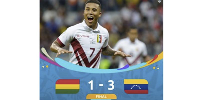 Venezuela vence a Bolivia con un triplete y asegura su clasificación a cuartos de final de la Copa América