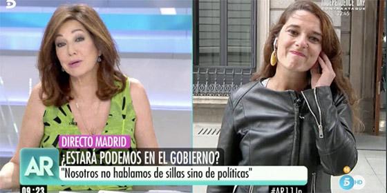 """Ana Rosa deja hecha unos zorros a la portavoz podemita: """"¡No podéis tener el discurso de hace cuatro años!"""""""