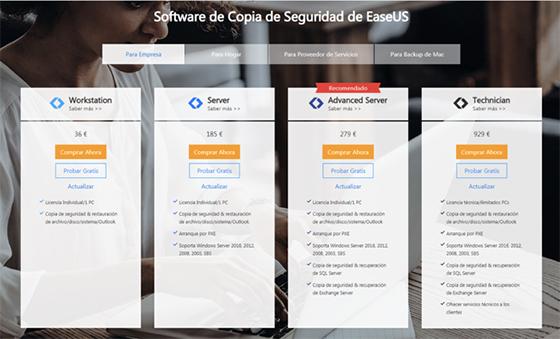 Planes Software Copia de Seguridad EaseUS