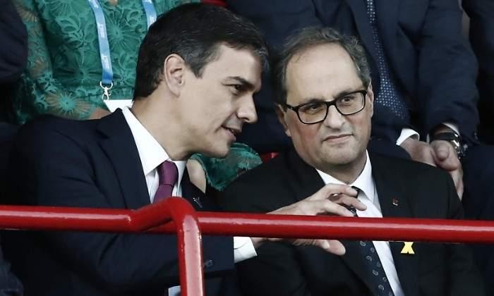 El socialista Pedro Sánchez y el separatista Quim Torra se reúnen en secreto junto al 'superordenador'