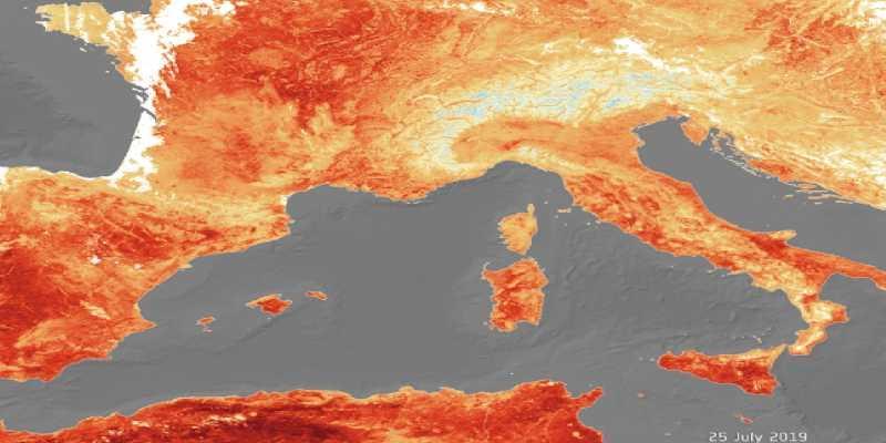 Así se ve Europa desde el espacio con el paso de la ola de calor