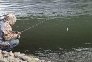 Este hombre pesca a un pez envuelto por una serpiente