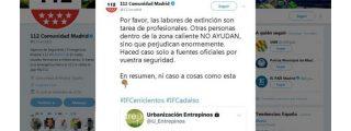 La Comunidad de Madrid insiste en que no se difundan bulos y que nadie se presente voluntario para apagar fuegos