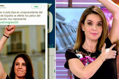 La 'buenina' Carme Chaparro se pone el 'Mato Grosso' en las axilas para defender a la progre Irene Montero