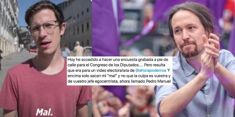 Un ciudadano deja en vergüenza a Podemos por usarle para una encuesta en la que ocultaron sus palos a Pablo Iglesias