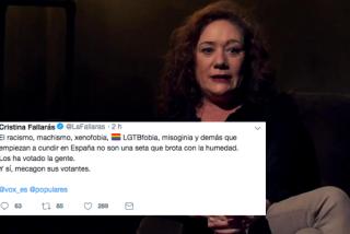 Cristina Fallarás se 'caga' en los votantes del PP y VOX tachándolos de racistas, machistas y xenófobos