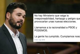 Rufián exige a grito pelado que Sánchez no ponga en peligro a España con otras elecciones y en Twitter le sacan un dato demoledor