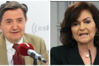 """Losantos coge por los pelos a Carmen Calvo y la pone de """"lerda y boquirrota"""" a cuenta del carnet de demócrata expedido a Pablo Iglesias"""