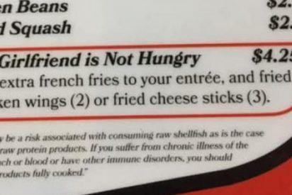 """Restaurante se vuelve viral al ofrecer en su menú esta opción """"Mi novia no tiene hambre"""""""