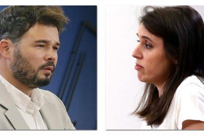 El desmemoriado Gabriel Rufián pierde el 'currículum' por Irene Montero y se traga con patatas fritas su odio a los licenciados