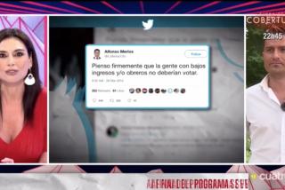 Infame: Marta Flich se burla de Alfonso Merlos sacando un tuit 'fake' que traspasa todas las líneas rojas