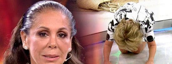 Mila Ximénez rinde pleitesía a Isabel Pantoja poniéndose de rodillas ante ella