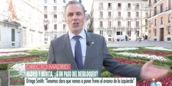 """Un loco intolerante irrumpe en una entrevista de Ortega Smith en TV: """"Aquí tenemos a la izquierda sectaria gritando"""""""