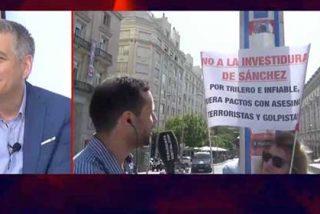 Una manifestante, contraria a la investidura de Sánchez, incendia la TVE de Rosa María Mateo: