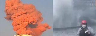 Desaprensivos alpinistas suben al cráter del volcán Popocatépetl en medio de una peligrosa fumarola