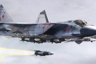 """Cazas rusos MiG-31BM de última generación """"combaten"""" en la estratosfera"""