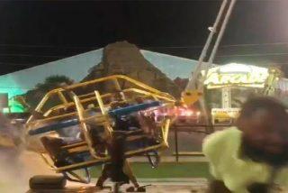 La rotura del cable de una atracción en un parque provoca un accidente del que logran sobrevivir dos personas