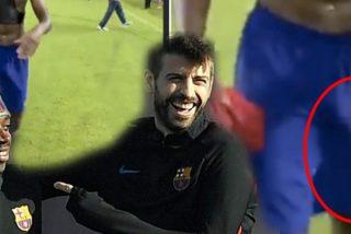 ¿Pero eso qué es?: La 'manguera' de Dembélé desbanca a la del propio Piqué en el vestuario del Barça