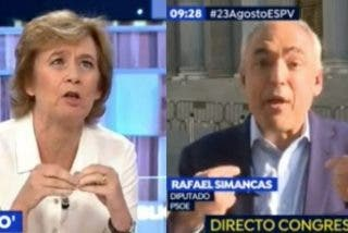 """Pilar Cernuda reduce a escombros al socialista Simancas: """"¡Me tengo que contener para no echar fuera toda mi rabia!"""""""