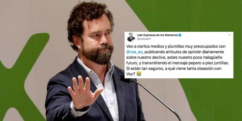 """Espinosa de los Monteros salta contra los medios y plumillas que quieren acabar con VOX: """"¿A qué viene tanta obsesión?"""""""
